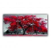 Quadro Árvore da Vida Vermelho e Cinza Luxo - Kit 3 telas
