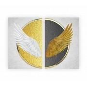Quadro Asas de Anjo Branco e Dourado -  Kit 2 telas