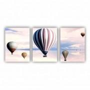 Quadro Balões e Nuvens Doce Sonho - Kit 3 telas