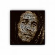 Quadro Bob Marley Pontilhado Quadrado - Tela Única