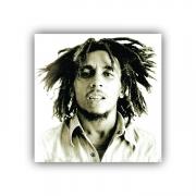 Quadro Bob Marley Preto e Branco Quadrado - Tela Única