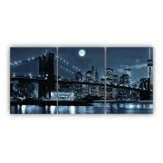 Quadro Brooklyn Preto e Branco - Kit 3 telas