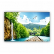 Quadro Cachoeira Deck Paradisíaco - Tela Única