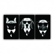 Quadro Cachorros Terno Moderno- Kit 3 telas