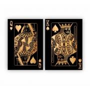 Quadro Cartas de Baralho Rei e Dama Preto e Dourado -  Kit 2 telas