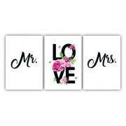 Quadro Casal Mrs. e Ms. love  - Kit 3 telas