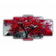 Quadro Decorativo Arvore da Vida Preto, Branco e Vermelho - 5 Telas