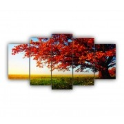 Quadro Decorativo Arvore Pôr do Sol - 5 Telas