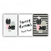 Quadro  Decorativo Cacto Rosa Meninas - Kit 3 telas