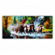 Quadro Decorativo Cavalos na Floresta - Kit 3 telas