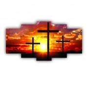 Quadro Decorativo Cruz Cristão Jesus - 5 Telas