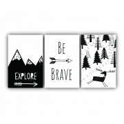Quadro Decorativo Escandinavo Be Explore - Kit 3 telas