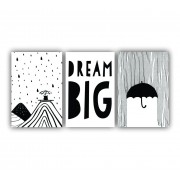 Quadro Decorativo Escandinavo Dream Big - Kit 3 telas