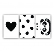 Quadro Decorativo Escandinavo I Love Panda - Kit 3 telas