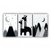 Quadro Decorativo Escandinavo Montanhas Girafa Preto e Branca - Kit 3 telas