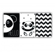 Quadro Decorativo Escandinavo Panda Chevron - Kit 3 telas