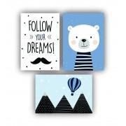 Quadro Decorativo Escandinavo Urso Azul - Kit 3 telas