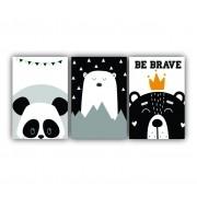 Quadro Decorativo Escandinavo Urso Panda Rei - Kit 3 telas