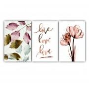 Quadro Decorativo Flores Delicadas Rosa - Kit 3 telas