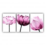 Quadro Decorativo Flores em Tons de Rosa Delicado - Kit 3 telas