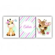 Quadro  Decorativo Girafinha Meninas Floral - Kit 3 telas