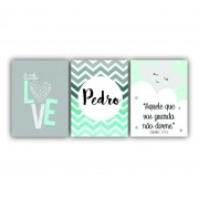 Quadro Decorativo Love Chevron Tiffany Menino Personalizado - Kit 3 telas