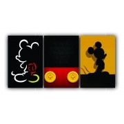 Quadro Decorativo Mickey Color Power - Kit 3 telas