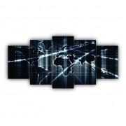 Quadro Decorativo Mosaico Mapa Mundi Brilho Moderno - 5 Telas
