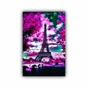 Quadro Decorativo Torre Eiffel Flores Rosas - Tela Única
