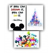 Quadro Decorativo Turma do Mickey WD Impact - Kit 3 telas