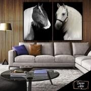 Quadro Duo de Cavalos Preto e Branco Luxo -  Kit 2 telas