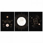 Quadro Esotérico Céu Lua Estrelas Preto e Dourado - Kit 3 telas