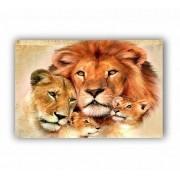 Quadro Família Completa Leão Aquarela  - Tela Única