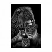 Quadro  Família Leão 2 Filhotes Preto e Branco - Tela Única