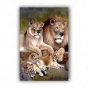 Quadro Família Leão, Leoa  e 3 Filhotes - Tela Única