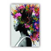 Quadro Feminino Juba de flores Borboletas Mulher - Tela Única