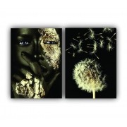 Quadro Feminino Luxo Black Golden Flow  - Kit 2 telas