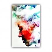 Quadro Feminino Mulher Abstrato Paz - Tela Única