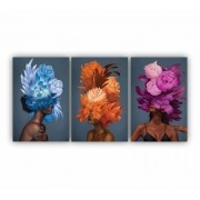 Quadro Feminino Mulher Afro Flor Coloridas - Kit 3 telas