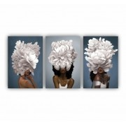 Quadro Feminino Mulher Afro Flor - Kit 3 telas
