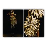 Quadro Feminino Mulher Black e Folhas de Ouro - Kit 2 telas