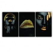 Quadro Feminino  Mulher Negra Gold  - Kit 3 telas