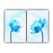 Quadro Flor Delicada Sentidos Azul Claro Vivo -  Kit 2 telas