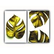 Quadro Folhas Douradas Total Luxo  -  Kit 2 telas
