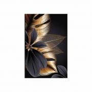 Quadro Folhas e Flor Preto e Dourado Master - Tela Única