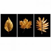 Quadro Folhas  Secas Preto e Dourada - Kit 3 telas