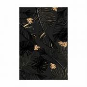 Quadro Folhas Sombreado Preto e Dourado - Tela Única