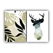 Quadro Folhas Terra Nude Alce Calmaria -  Kit 2 telas