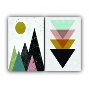 Quadro Geométrico Triângulos Rosa -  Kit 2 telas