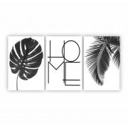 Quadro Home Folhas de Adão Preto e Branco - Kit 4 telas